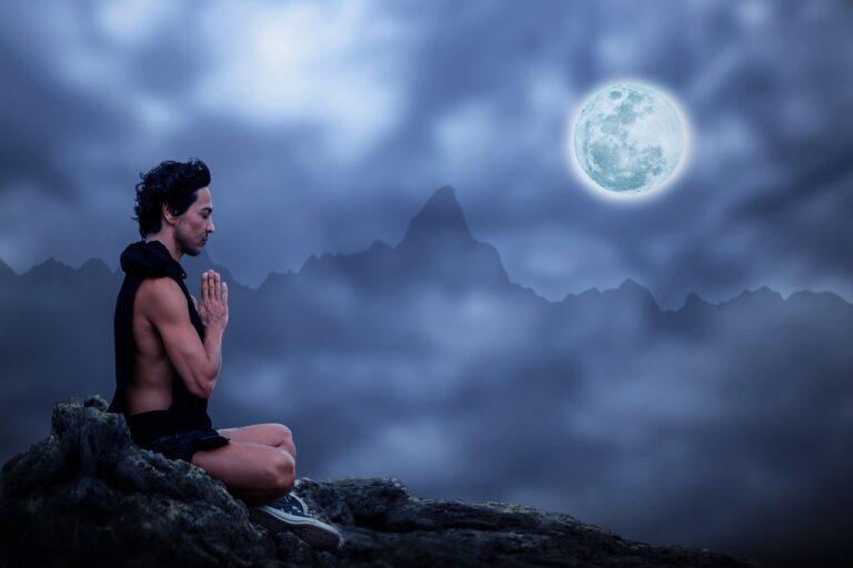 healthy life tips meditation man and moon